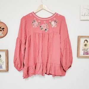 Solitaire Textured Embroidered Bohemian Blouse